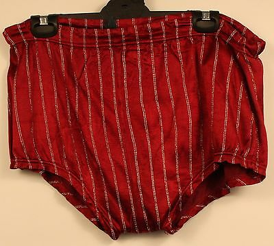 LARGE MENS BATHERS, 1950,s ORIGINAL VINTAGE. RED SATIN WITH SILVER STRIPE.