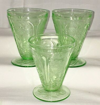"""3 Jeannette CHERRY BLOSSOM GREEN *3 3/4"""" ROUND FOOTED JUICE TUMBLERS*"""