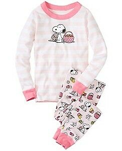 140 girls Hanna Andersson Peanuts Snoopy Spring Easter Pajamas/PJs, NWT