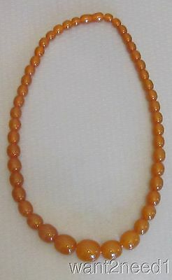 """vtg genuine RUSSIAN AMBER NECKLACE 22"""" opaque butterscotch graduated beads 50g"""