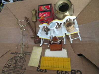 Dollhouse Miniatures Shadowbox Display 16 Items Assorted Scales Furniture Other