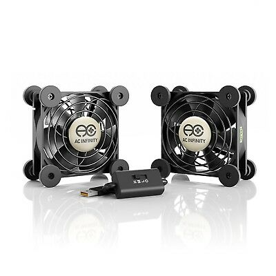AC Infinity MULTIFAN S5 Quiet Dual 80mm USB Fan for Receiver DVR Playstat... New