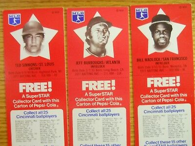 1978 Pepsi-Cola Baseball Collectors Cards Rare Only Ohio Issue
