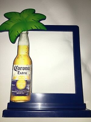 NEW CORONA Extra Light Beer Bar Palm Tree Tiki Table Sign 2 Sided BEACH Frame