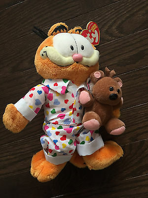Garfield Cat TY  Beanie Baby Goodnight Garfield with Pooky Bear