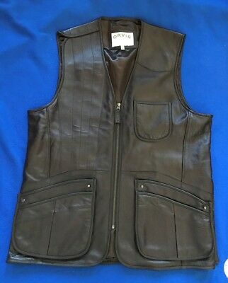 Orvis Hunting Brown Leather Vest Mens XL Fishing Soft Sportsman outdoor vintage