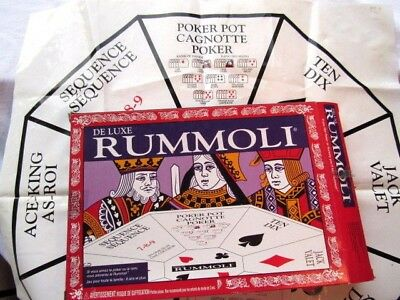 DELUXE RUMMOLI  CARD GAMBLING Game- PLASTIC Table Mat Layout  Instructions Chips