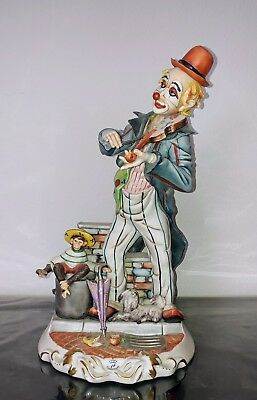 Antique Vintage Rare Large Capodimonte Figurine Signed Arturo' Clown with Violin