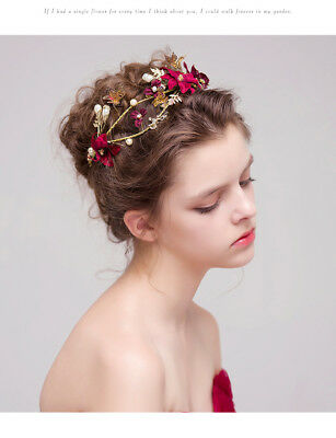 Red Baroque Gold&Red Crystals Wedding Bridal Crown Tiara Bride Hair Headpiece