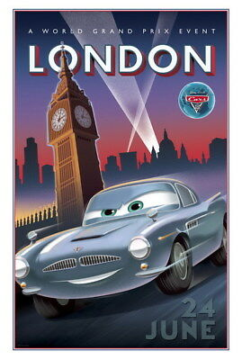 "012 Cars - Pixar Lightning McQueen Cartoon Movie 24""x35"" Poster"
