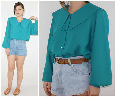 Vintage 80´s HUGE POINTED COLLAR blouse shirt RICH TEAL fluid slvs MADE IN SPAIN