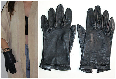 Vintage handmade BUTTERY LEATHER GLOVES skinny fit BLACK braided detailing