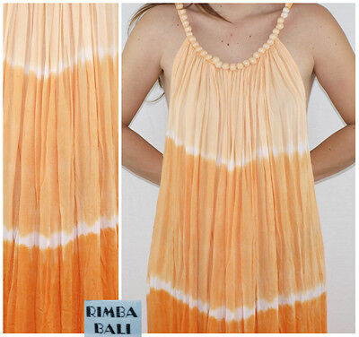 Vintage 90´s BALI dress BEADED COLLAR rayon TIE DYED deep arm holes SHERBET boho