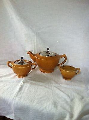 Art Deco Chameleon Ware Clews & Co Pottery Teapot Sugar & Milk