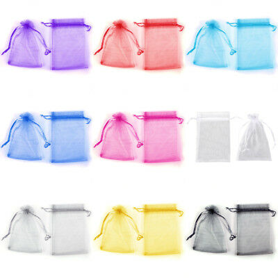 100-300pcs 7-15CM Organza Wedding Party Gift Favour Bag Jewelry Drawstring Pouch