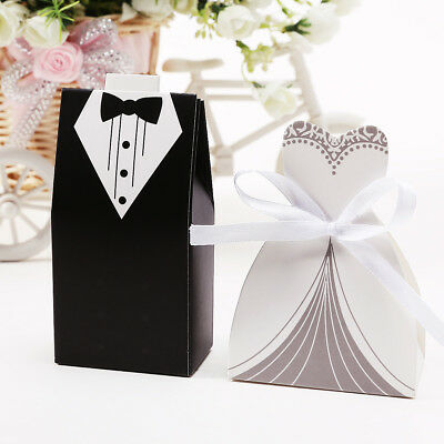 60-200pcs Wedding Themed Gift Candy Boxes Sweets Bride Groom Style with Ribbon
