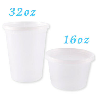 Plastic Soup Food Grade Disposable Containers Take Out w/Lids Microwaveable