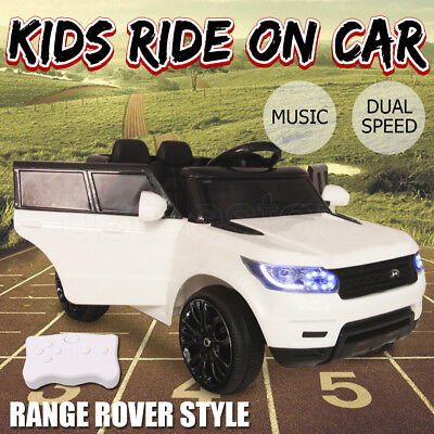Electric Kids Ride on Car Range Rover Style Twin Motor 12V Battery Remote White