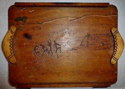 Vintage Hand Made In Australia Serving Tray With Boomerang Handles & Pyrography