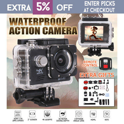 Action Camera 30 Meters Waterproof Remote Control 2.0'' LCD WIFI Video Camcorder