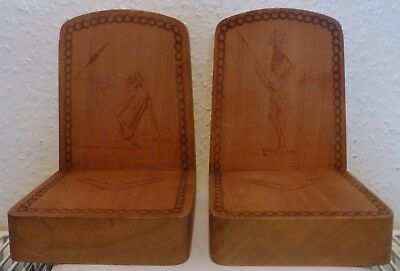 A Beautiful Pair Of Australian Book Ends Hand Made With Pyrography Art (Bx7)