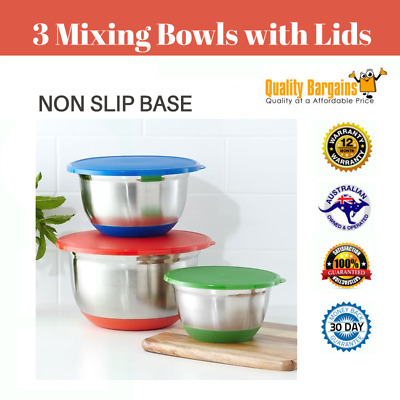 Set of 3 Stainless Steel Mixing Bowls with Lids Silicone Kitchen Cook New