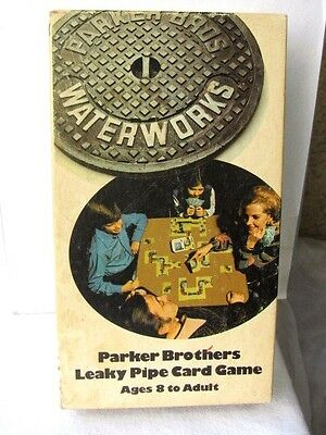 WATERWORKS  - Parker Brothers 1972 -Leaky pipe Card GAME -100%  COMPLETE  EUC