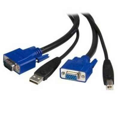 NEW STARTECH SVUSB2N1_15 15 FT 2-IN-1 UNIVERSAL USB KVM CABLE....b.