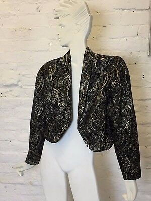 Vintage Retro Gold Embroidered 80s Evening Blazer