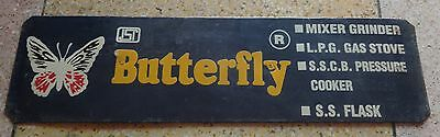Vintage Old Collectible Butterfly Gas Stove Advertisement Tin Sign Board 78