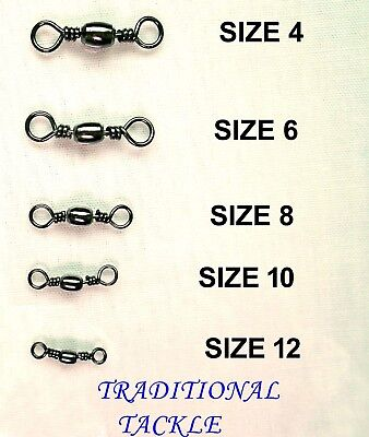 BARREL SWIVELS  SIZES 4,6, 8, 10 and 12 - SEA FISHING RIG LINKS
