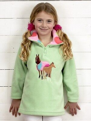 Childs half zip fleece with horse and foal motif-  apple green - age 2-3