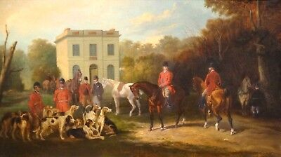 Large 19th Century English Hunting Hound Dogs Horses Estate Antique Oil Painting