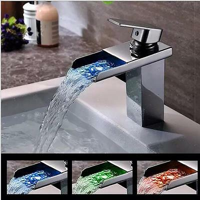 Deck Mounted Waterfall Taps Chrome Finish Bathroom Faucet 3 Color LED Mixer Taps