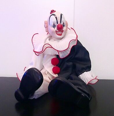 """Vintage CLOWN DOLL With Porcelain Head Hands and shoes 18"""" Stuffed Body AHS Cult"""
