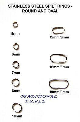 Stainless Steel Split Rings, Round & Oval - Sea Fishing Rig Links