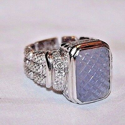 Judith Ripka 18K White Gold & Diamonds with Textured Violet Glass Ring Size 6.5