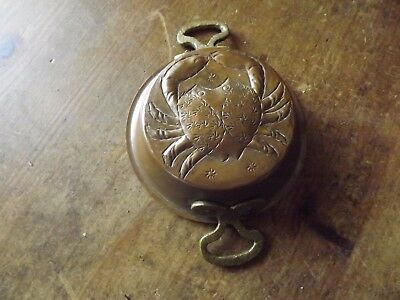 Vintage Shallow French Copper Crab Pate Mould With Brass Handles