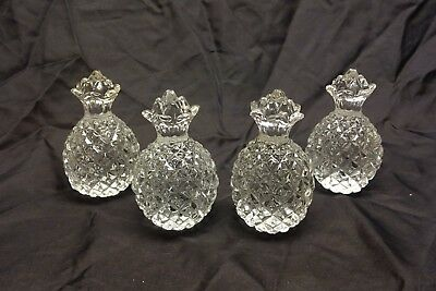Vintage Monticello Clear Crystal Pineapple Paperweights Set Of 4
