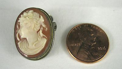 Cameo Pendant Pin ONLY Size 7/8 Inch Tall Silver Lady Carved Filigree Brooch