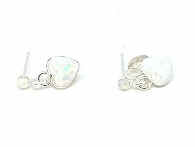 Girls Ladies 925 Sterling Silver Heart FireSnow Opal Stud Earrings - Boxed