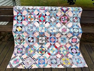 Vintage 1950's (9) Square Quilt Top Feedsack Remnant Fabric QUILT BLOCK 66 x 76