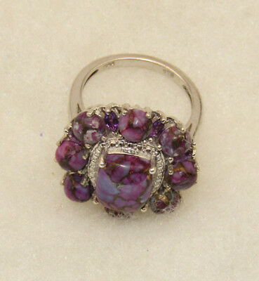 Sterling Silver Ring With Purple Stones
