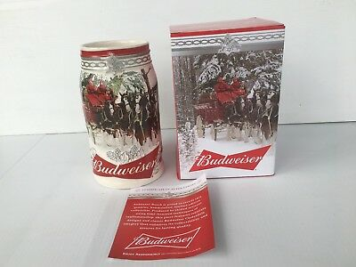 """(1) Budweiser Clydesdales 2017 Holiday Stein    """"holiday Retreat""""   38Th Edition"""