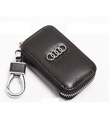 Audi Leather Key Cover Case Holder Key Ring Chain Fob Total Black !