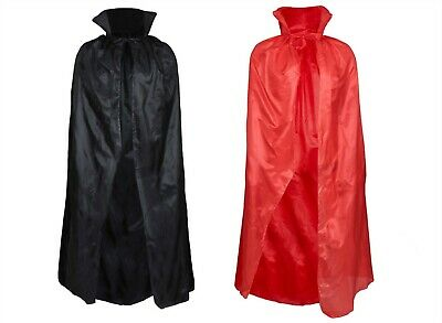 Halloween Vampire Cape Adult Black Red Dracula Fancy Dress Costume Party Cloak