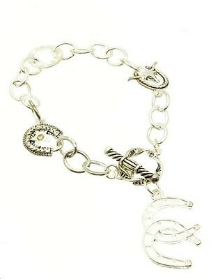 Horse Shoe Necklace & Bracelet Set - Silver Tone - BNWT