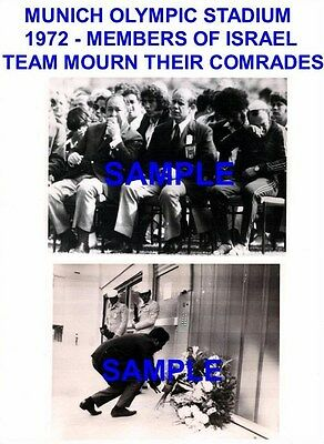 2 Original Press Photographs Memorial Service To Israeli Team Murdered Munich 72