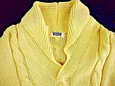 VINTAGE 70s 1978 LEVIS Sportswear mens L shawl collar sweater cable knit acrylic
