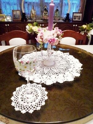 Round White Doily Hand Crochet Beauty Lace Table Home Decorate X'Mas Party Gift